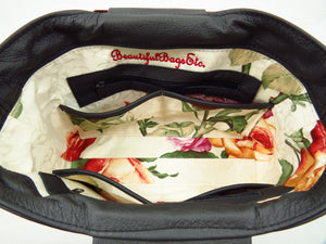 Rambling Rose Embroidered Black Leather Tote interior