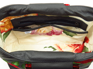 Rambling Rose Embroidered Black Leather Tote interior pockets