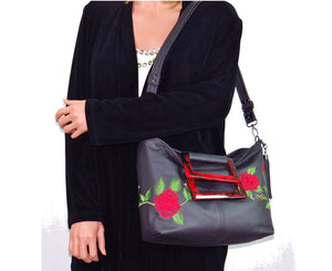Rambling Rose Embroidered Black Leather Tote shoulder bag