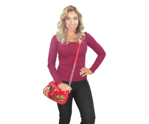 Red Red Red Puff Pouch Amanda model