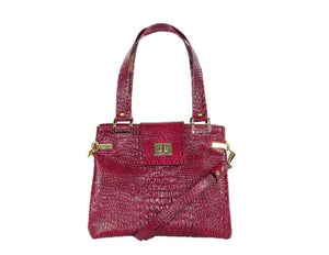 Red Alligator Tote Handbag