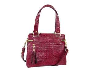 Red Alligator Tote Handbag back view