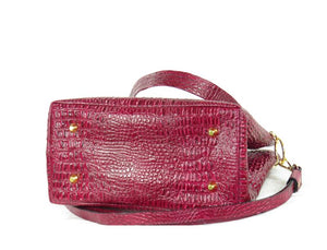 Red Alligator Tote Handbag bottom view