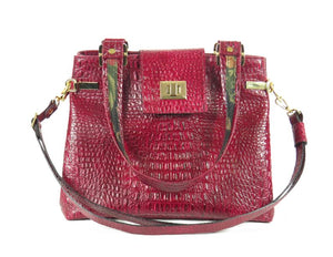 Red Alligator Tote Handbag handles view
