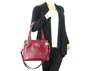 Red Alligator Tote Handbag model view