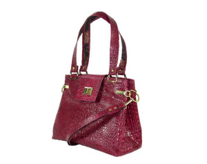 Red Alligator Tote Handbag side view