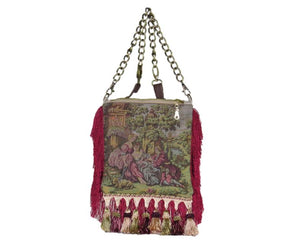 Red Fringe Victorian Cottagecore Bag