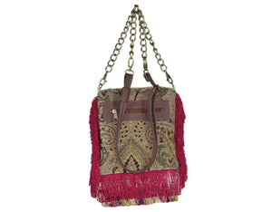 Red Fringe Victorian Gypsy Bag back view