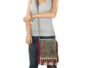 Red Fringe Victorian Gypsy Bag skinny model view