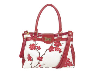 Red Leather Cherry Blossom Double Zip Satchel
