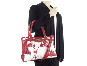 Red Leather Cherry Blossom Double Zip Satchel arm model