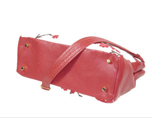 Red Leather Cherry Blossom Double Zip Satchel base