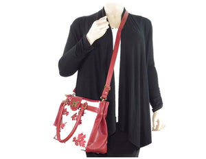 Red Leather Cherry Blossom Double Zip Satchel cross body view
