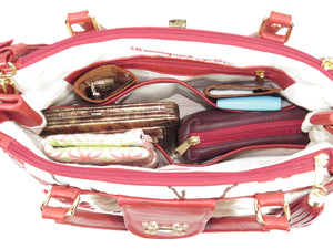 Red Leather Cherry Blossom Double Zip Satchel fill contents view