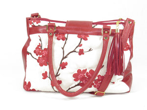 Red Leather Cherry Blossom Double Zip Satchel handles
