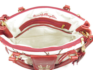 Red Leather Cherry Blossom Double Zip Satchel interior