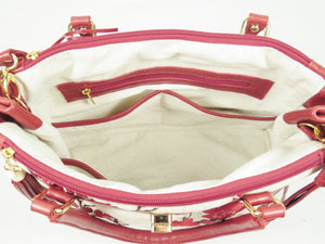 Red Leather Cherry Blossom Double Zip Satchel pockets view