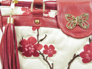 Red Leather Cherry Blossom Double Zip Satchel quilting close-up