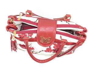 Red Leather Cherry Blossom Double Zip Satchel top view