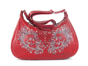 Red Leather Skulls Embroidered Hobo Handbag