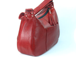 Red Leather Skulls Embroidered Hobo Handbag side view