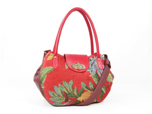 Red Leather and Orchid Tapestry Bucket Satchel
