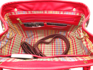 Red Leather and Orchid Tapestry Bucket Satchel interior card slots