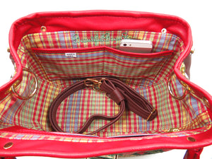 Red Leather and Orchid Tapestry Bucket Satchel interior pockets