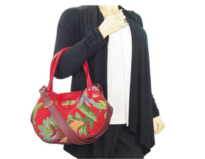 Red Leather and Orchid Tapestry Bucket Satchel model view