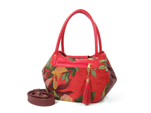 Red Leather and Orchid Tapestry Bucket Satchel outside zipper pocket