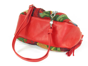 Red Leather and Orchid Tapestry Cross Body Bag