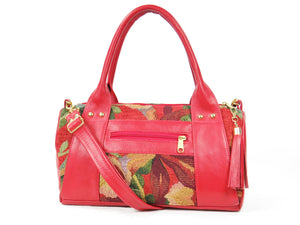Red Leather and Tapestry Barrel Satchel