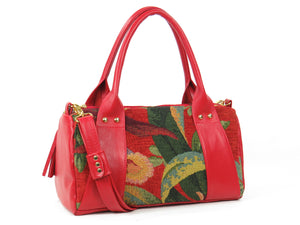 Red Leather and Tapestry Barrel Satchel back side