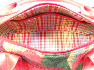 Red Leather and Tapestry Barrel Satchel interior pockets