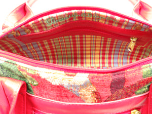 Red Leather and Tapestry Barrel Satchel interior zipper pocket