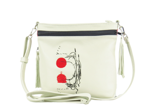 Red Sunset White Leather Cross Body Bag