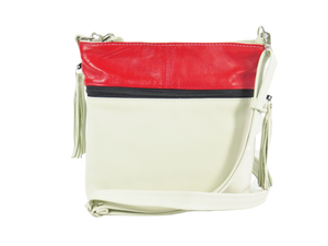 Red Sunset White Leather Cross Body Bag back view