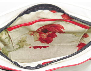 Red Sunset White Leather Cross Body Bag interior view