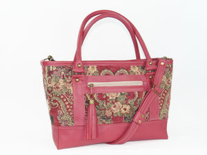 Rose Red Leather and Paisley Chenille Tapestry Zipper Tote