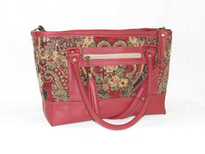 Rose Red Leather and Paisley Chenille Tapestry Zipper Tote handles down