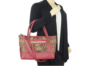 Rose Red Leather and Paisley Chenille Tapestry Zipper Tote model view