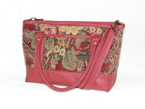 Rose Red Leather and Paisley Chenille Tapestry Zipper Tote open pocket side