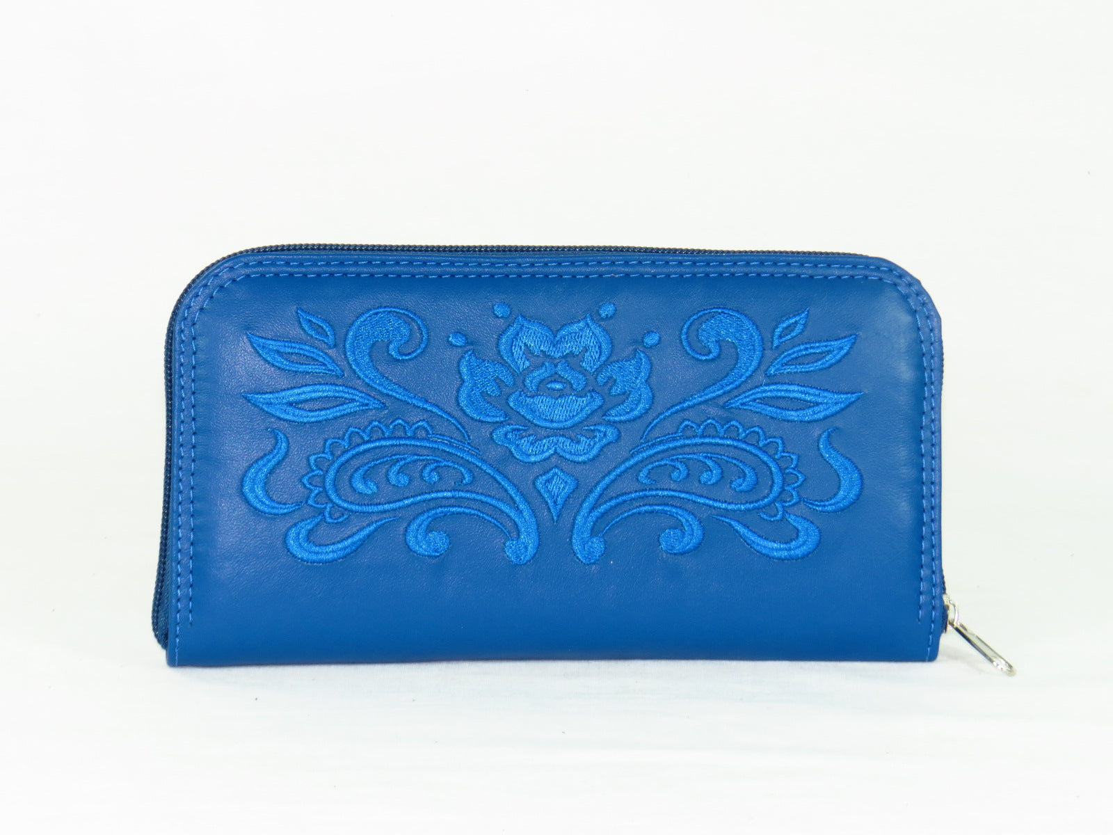 d331e715fe Royal Blue Embroidered Leather Wallet