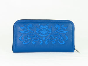 Royal Blue Embroidered Leather Wallet