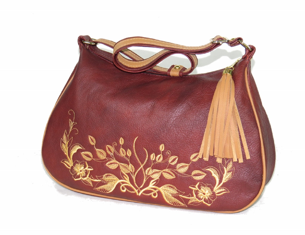 Rust Brown Embroidered Leather Classic Hobo Bag.