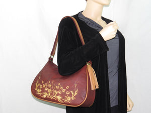 Rust Brown Embroidered Leather Classic Hobo Bag model view