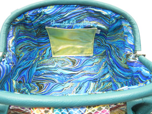 Sea Green and Fish Leather Doctor Bag interior