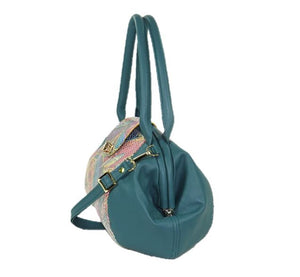 Sea Green and Fish Leather Doctor Bag side view