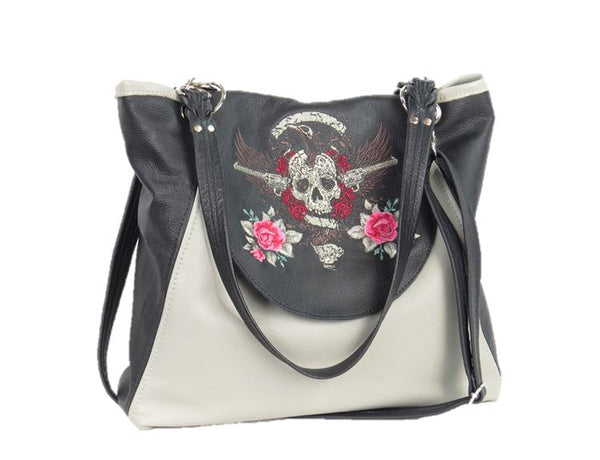 Skull and Roses Black and Gray Leather Tote