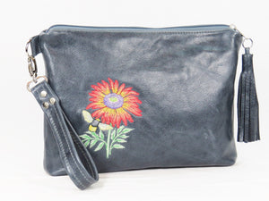 Slate Blue Leather Bee Flower Zipper Clutch